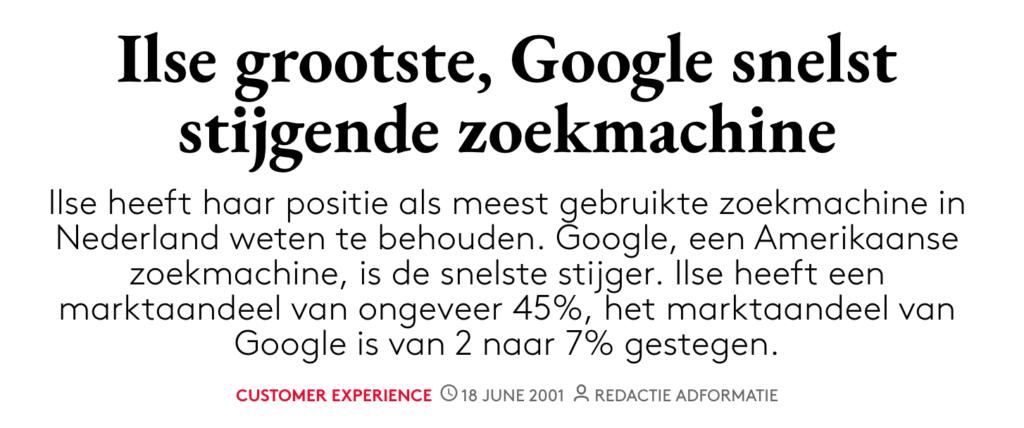Adformatie Ilse vs Google